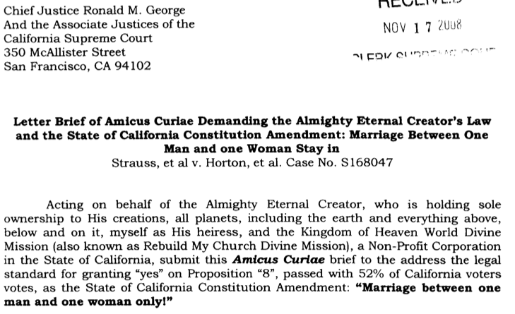God's Amicus Brief on Prop. 8