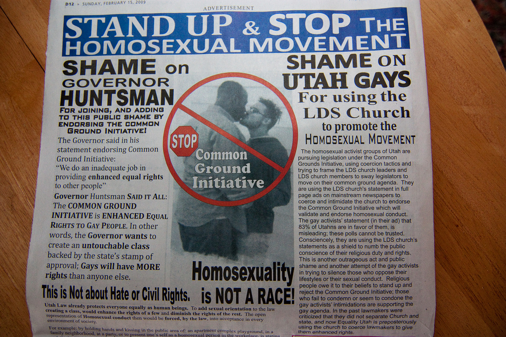 Utah's Papers Get Spamed by Homophobic Advertisement