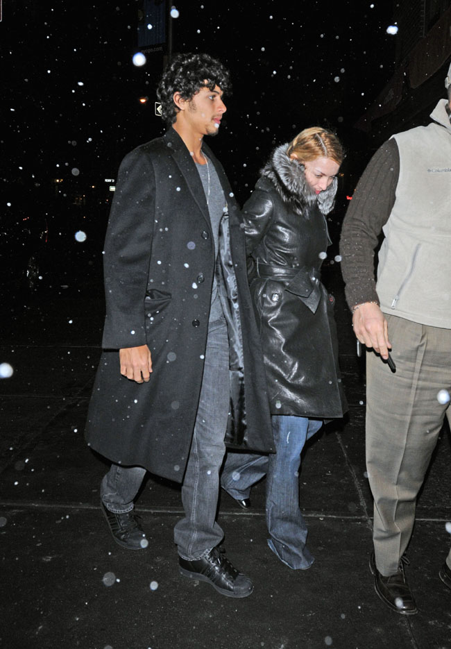 Madonna with boyfriend Jesus Luz out on a romantic snowy dinner