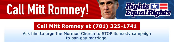 Will Mitt Romney Answer Calls to Tell the Mormon Church to Back Off on Gay Marriage?