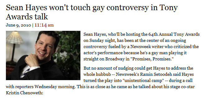 How Many Cute Ways Are There to Say Sean Hayes Is Done Talking About Newsweek?