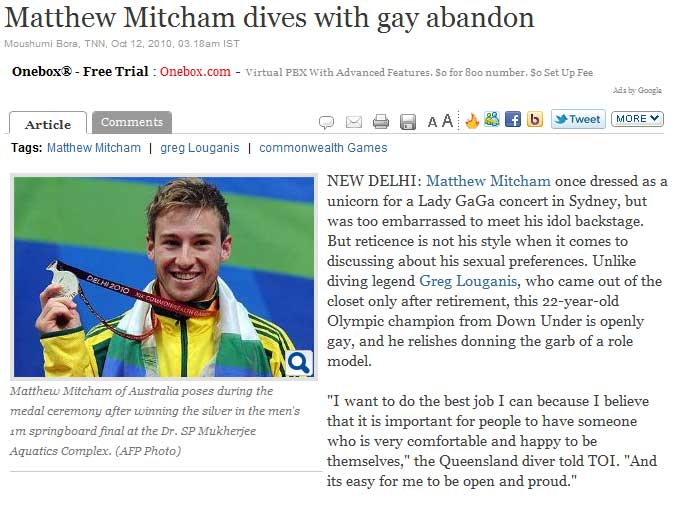 Wherein A Newspaper Says The Obvious About Matthew Mitcham