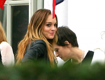 Lindsay Lohan and DJ Sam Ronson celebrating Joshua Ronson's Bar