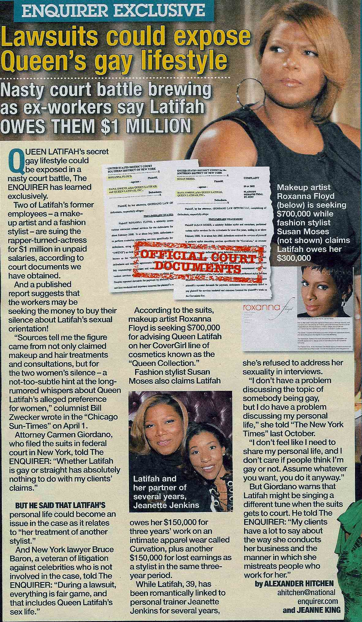 Queen Latifah's Ex-Beauty Workers Want Cash ... For Silence?