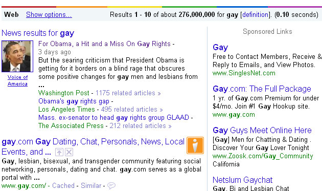 Google Search Goes Gays