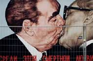 Leonid Brezhnev + Erich Honecker's Kiss Returns to the Berlin Wall