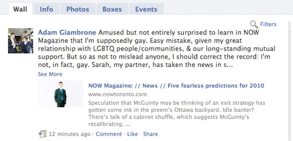 Should It Matter That Toronto's Possible Next Mayor Adam Giambrone Was Accidentally Identified as Gay?