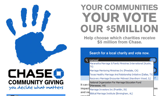 Chase Bank's Charity Says No to NOM, Yes to Trevor Project