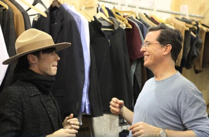 Johnny Weir Meets Flamboyant Talk Show Host Stephen Colbert