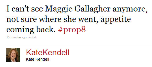 Breaking: Maggie Gallagher Has Disappeared From Prop 8 Trial