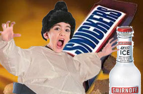 Lesbian Sumo Wrestler Attacks Snickers Bar With A Smirnoff Ice