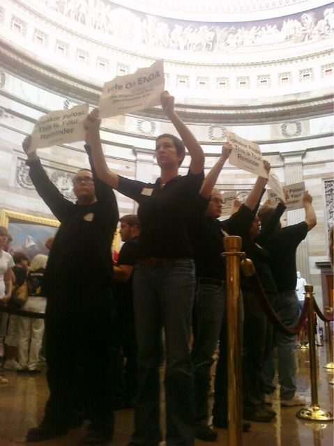 GetEQUAL Demonstrators Take Tour of Capitol Building's Rotunda In Search of Nancy Pelosi