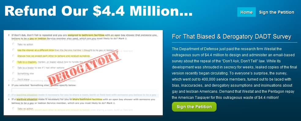 What Will You Spend Your $4.4 Million DADT Survey Refund On?