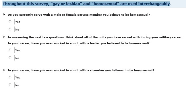 Pentagon's DADT Survey Demands Soldiers Speculate If They Serve With Any Of Them Queers