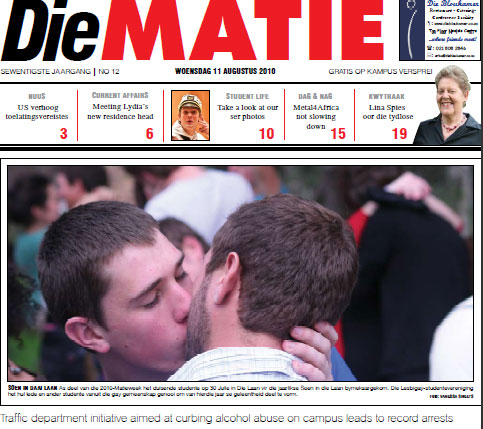 What Happens When a South African Student Newspaper Lets Gays Kiss On The Front Page