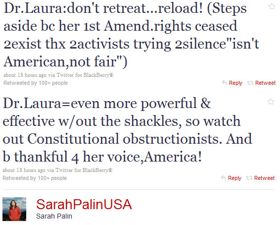 Don't Take Dr. Laura's Relationship Advice, And Don't Take Sarah Palin's Constitutional Guidance
