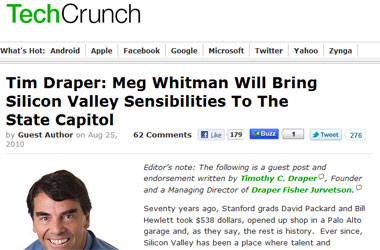 And Now The Tech Blogs Are Endorsing Prop 8-Loving Meg Whitman