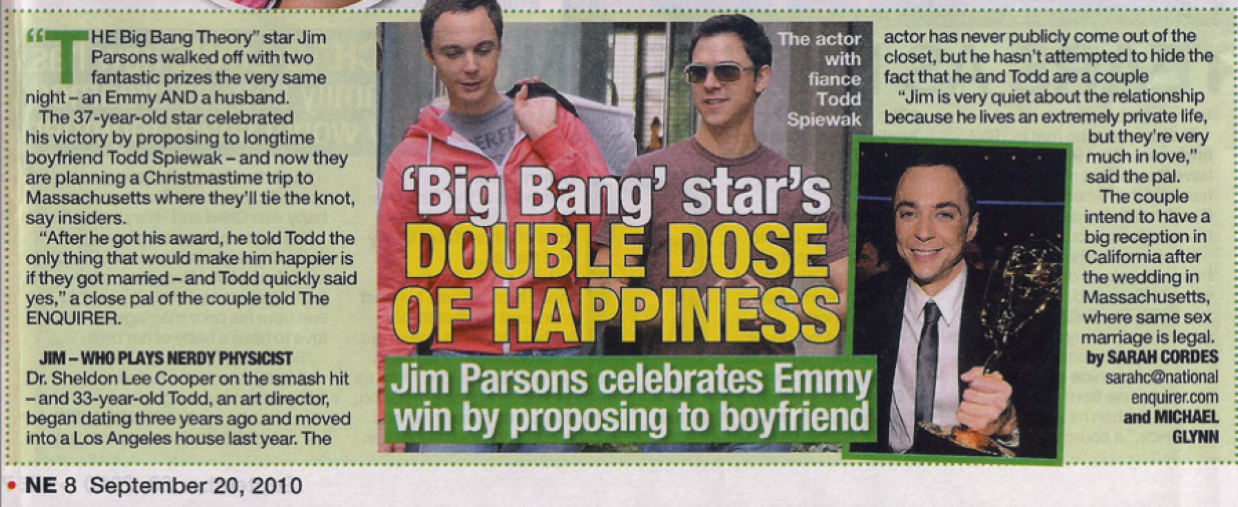 Big Bang Theory's Jim Parsons Is Engaged! To Boyfriend Todd Spiewak!