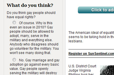 South Florida Sun Sentinel Poll: Should Gays, Like, Be Equal And Stuff? Or Do They Just Ruin Everything?