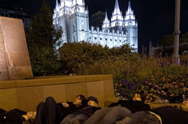 Boyd K. Packer A No Show At Salt Lake City's Group Cuddle Party In Front of Mormon Church