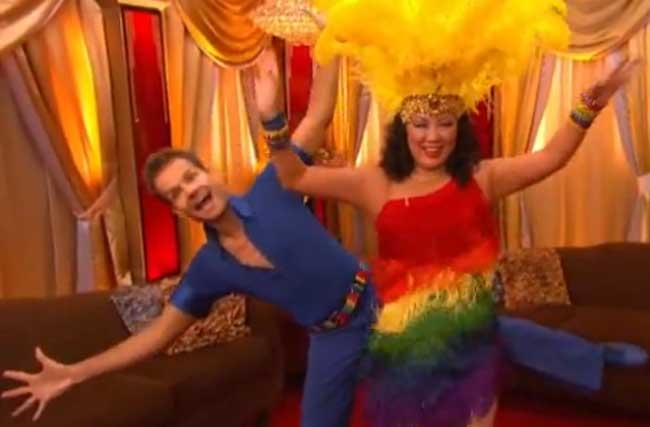 Margaret Cho's Giant Rainbow Dancing Dress For Gay Bullying Victims
