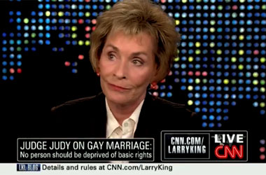 Judge Judy Tells Larry King Why He Doesn't Understand Marriage Discrimination, Why She Supports Ousting Iowa Judges
