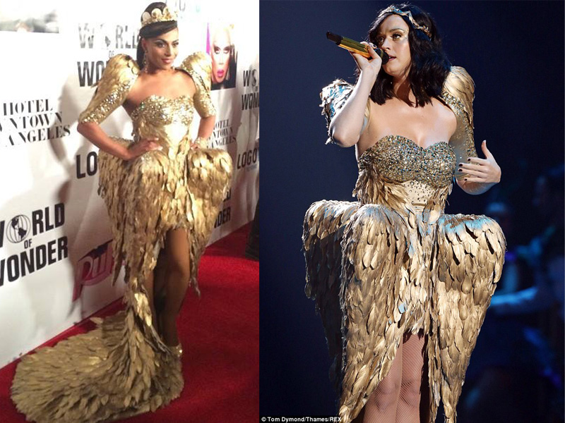 Who Wore it Better: Shangela or Katy Perry? Feathered Gold Dress