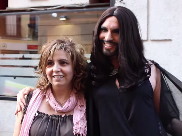 Watch: A Fake Conchita Wurst Gets Mobbed by Fans in Madrid, Spain