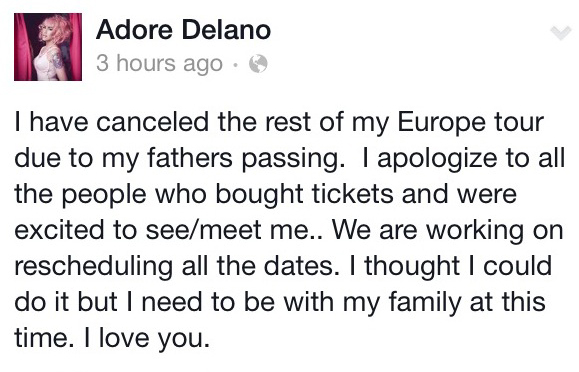 Adore Delano Tour Dates Postponed Due to Father's Passing