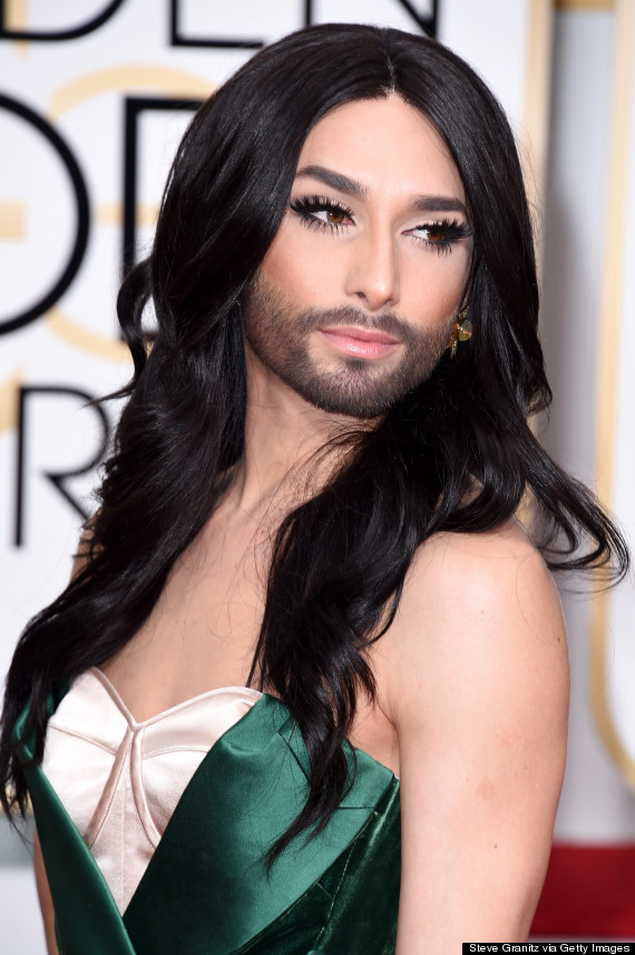 Conchita Wurst Wows the Crowds in Stunning Golden Globes Gown