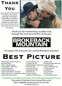 Fans To Academy Members: Brokeback Mountain Is Best Picture!
